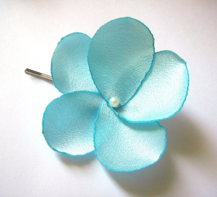 aqua blue rose blossom wedding flower bobby pins
