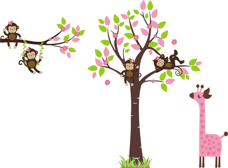 Monkey Wall Decal Baby Nursery By StickEmUpWallArt