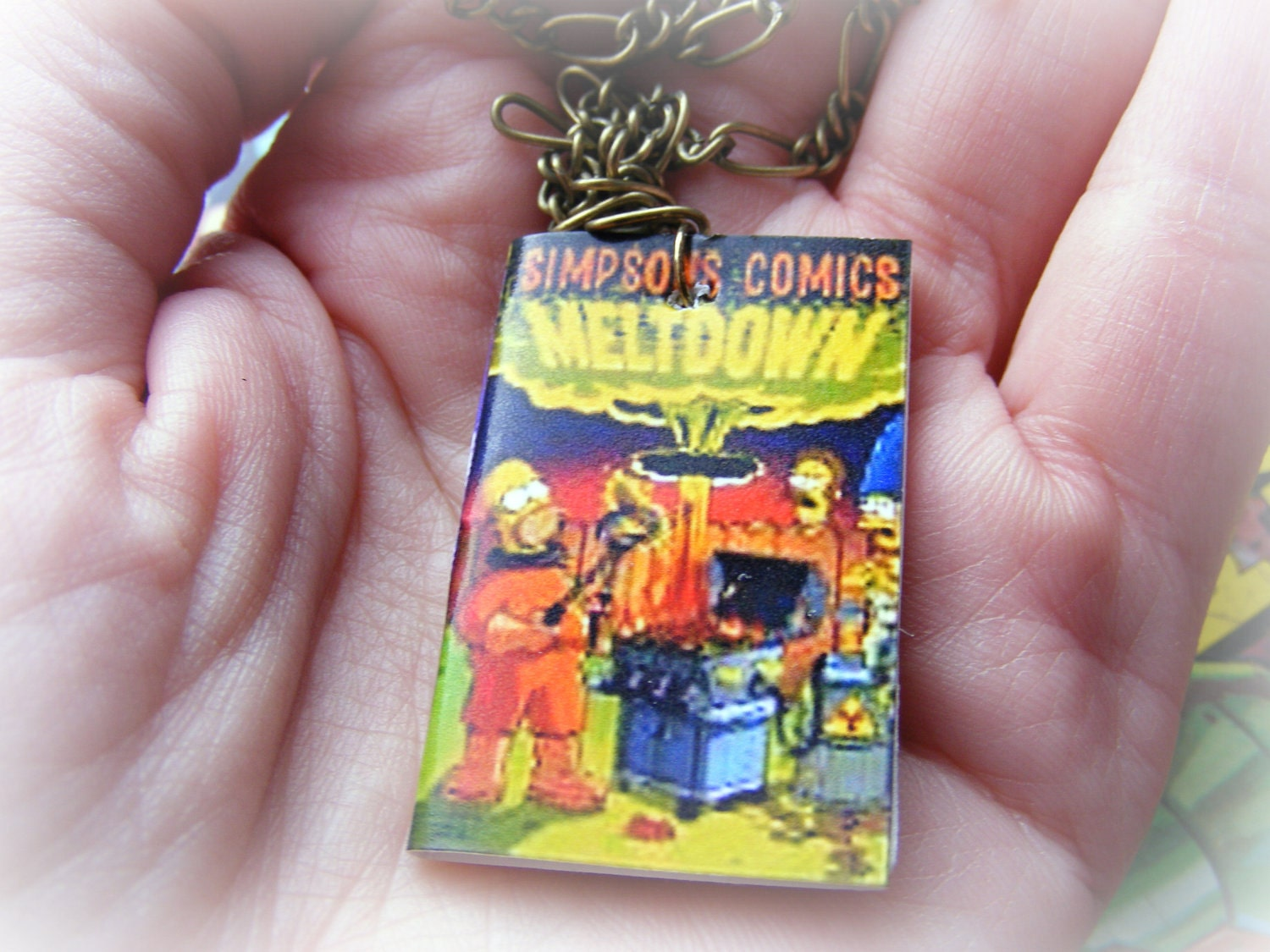 Earrings or Necklace The Simpsons Miniature Comic Book