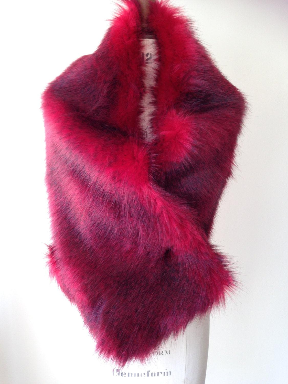 Red Faux Fur Shrug  Bridal Fox Fur Stole Wine Red Fur Wrap  Red Faux Fur Bridal Bridesmaids Capes Shrug Gillet gift for her Handmade UK