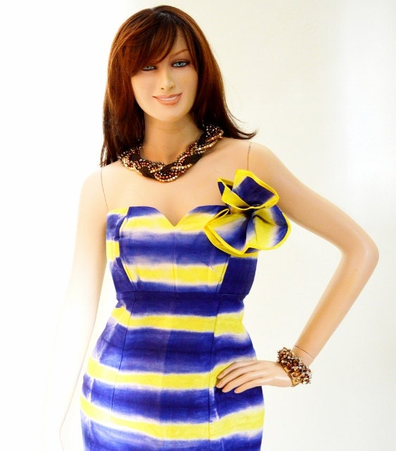 Strapless African cocktail dress Blue and Yellow tie dye..