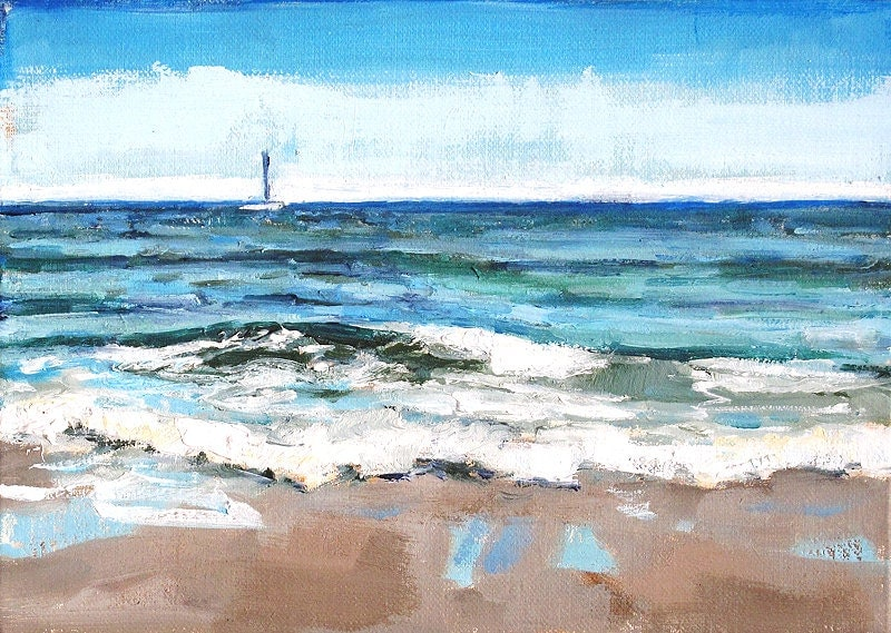 Beach in Santa Barbara California, Landscape Painting