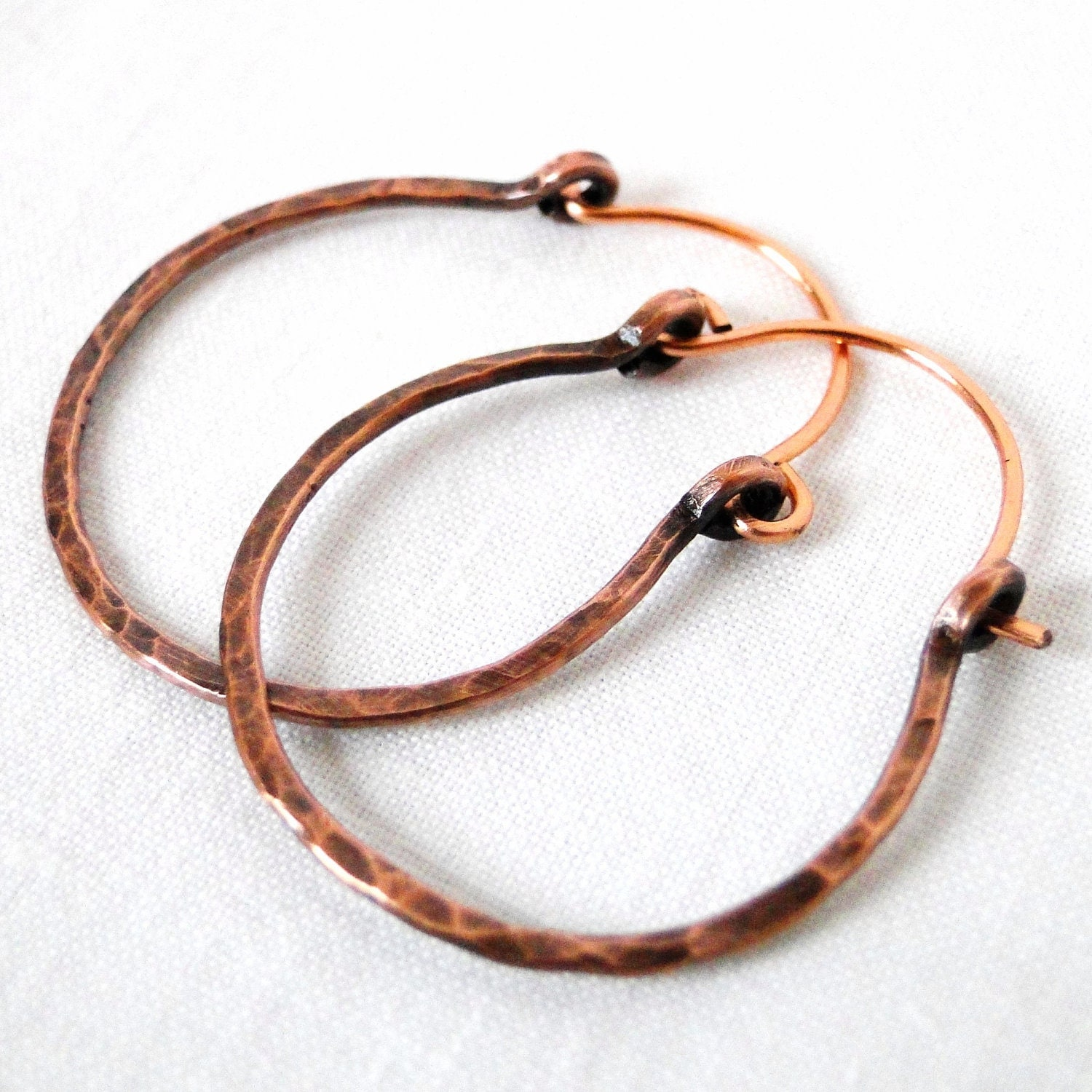 Hammered Copper Wire Jewelry Hoop Earrings Medium Hoop