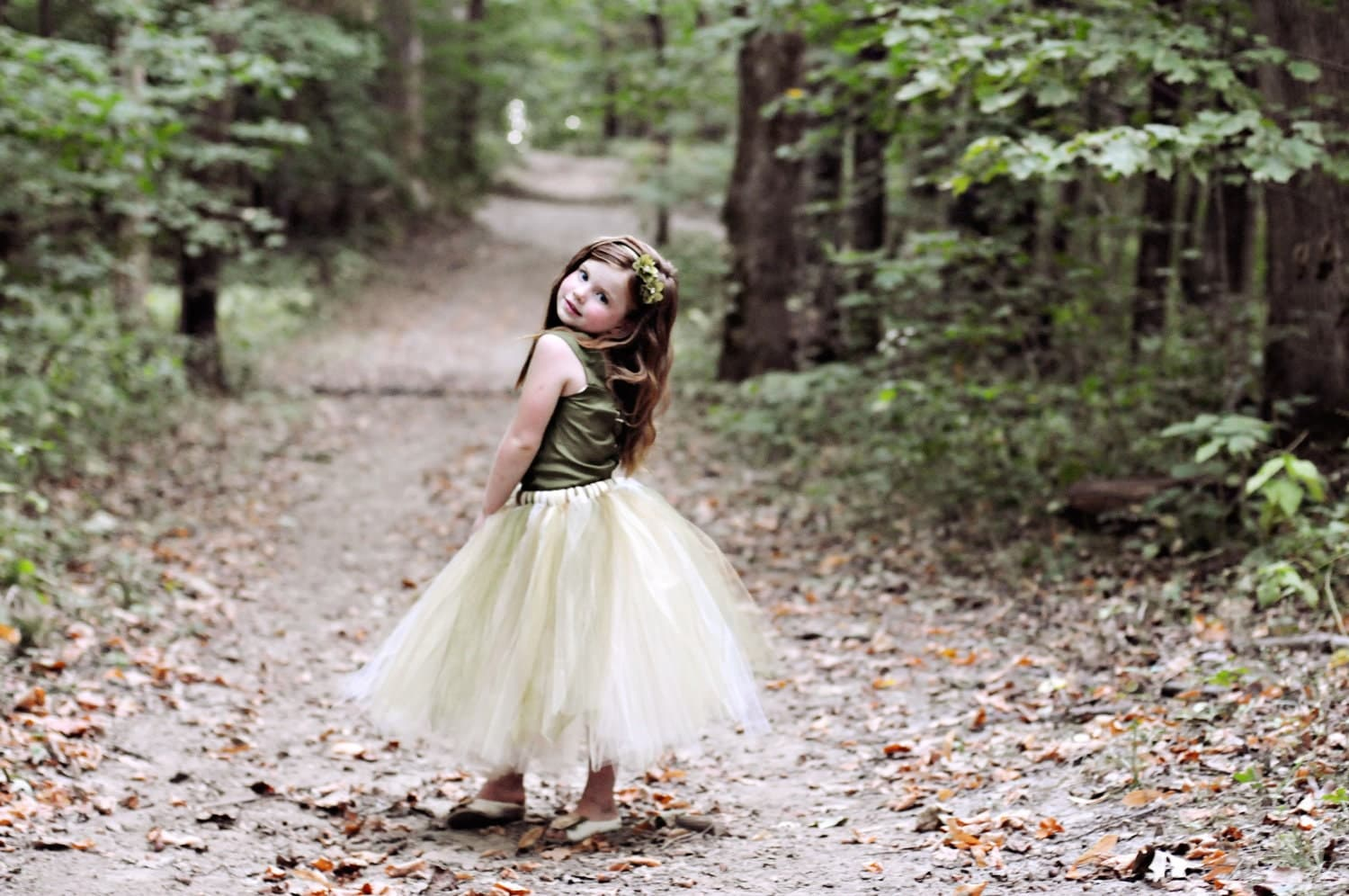 Green Flower Girl Dress--Rustic Woodland Wedding--Reversible Two Tone Corset Top--Ballet Neckline--Perfect for Weddings and Portraits - BellaBeanCouture