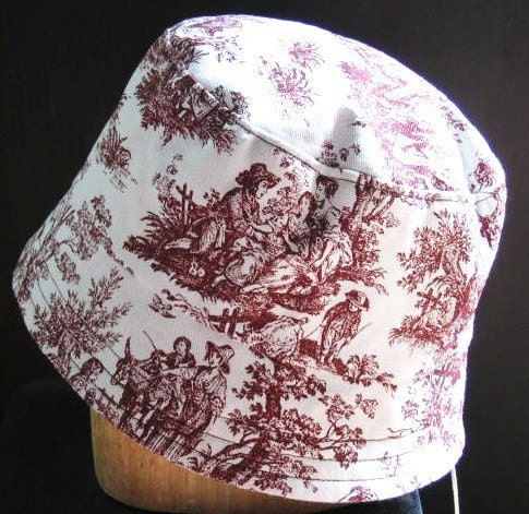 Women Handmade Bucket / Cloche Hat - Burgundy Toille
