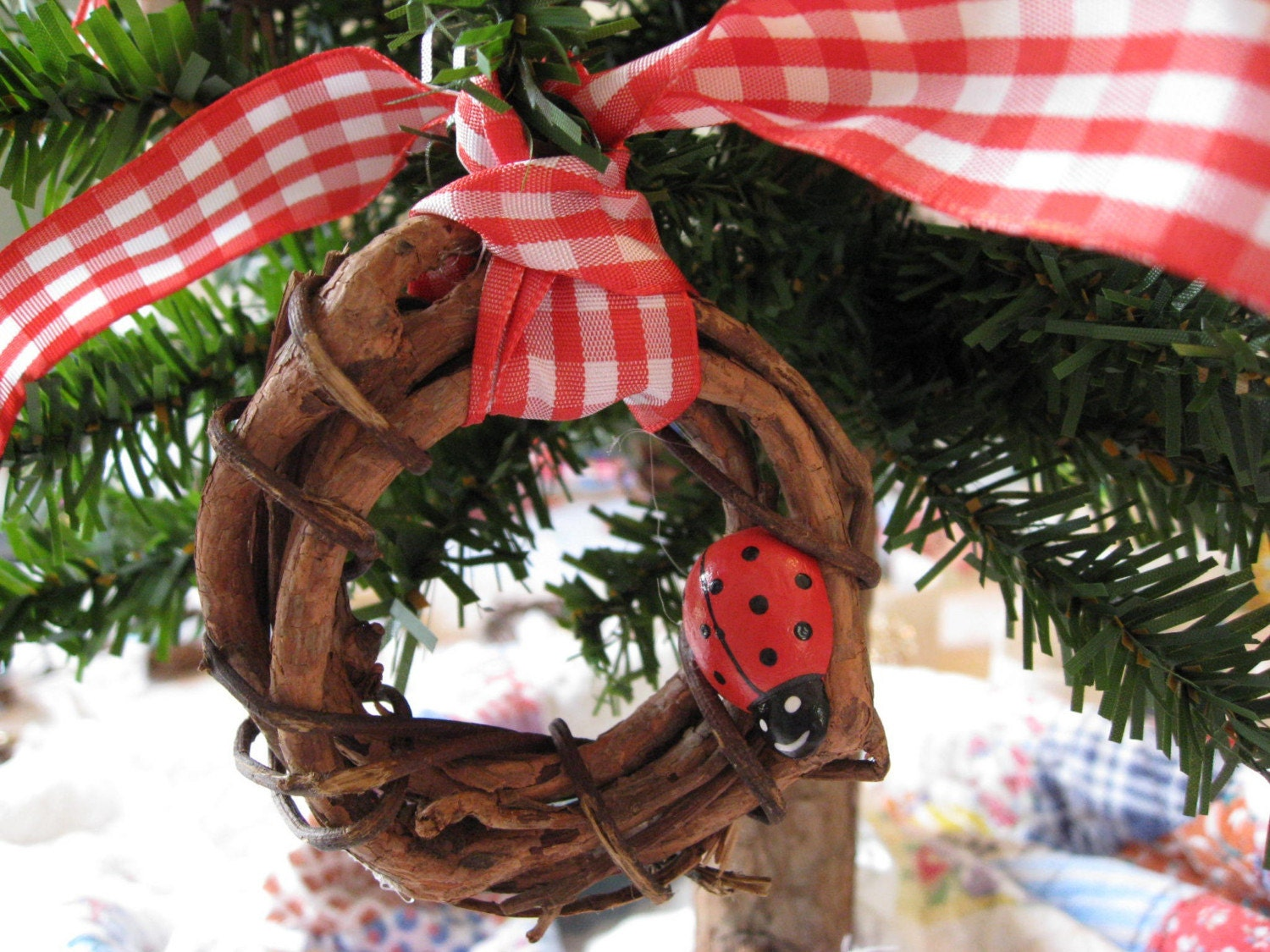 Sale - 4 Lady Bug Christmas Tree Ornaments