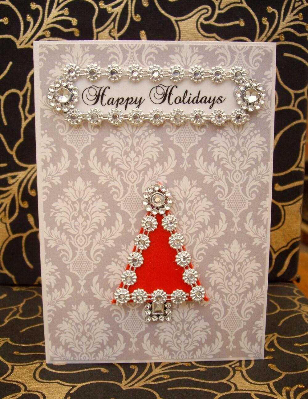 SALE Happy Holidays Tree Card / Handmade Greeting Card
