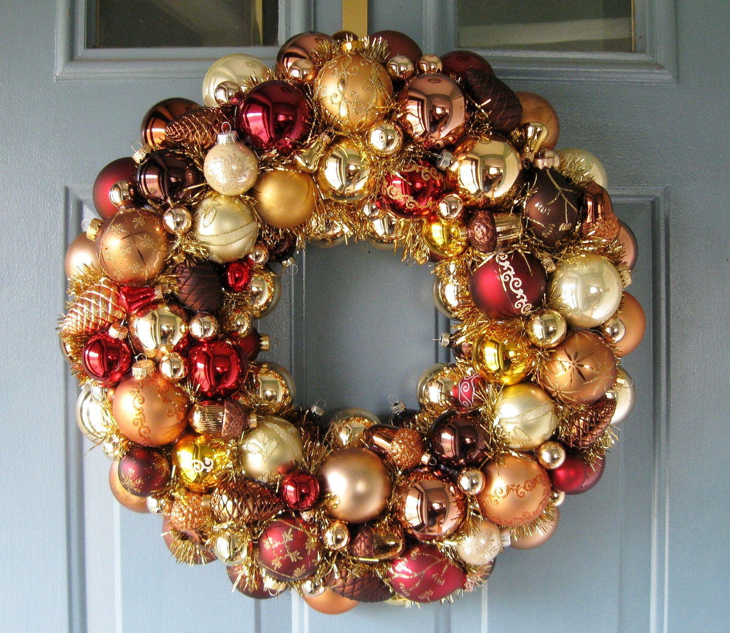Christmas wreath copper bronze gold ornaments by judyblank