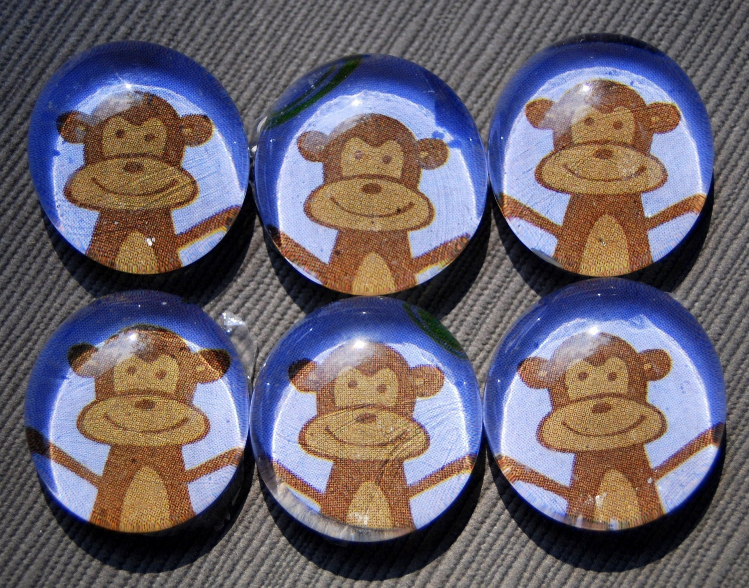 Funky Monkey - Glass Pebble Magnets - Set of 6 - Rare Earth