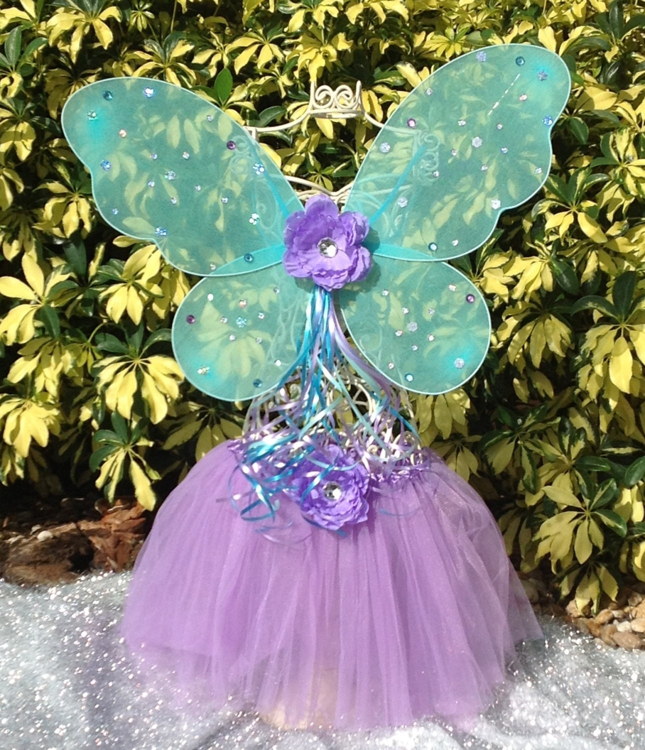 Fairy Princess Blue Turquoise Butterfly Wings, Purple Tutu,Purple and Blue Fairy Princess Wand with Matching Flower Dress Up Tutu Set