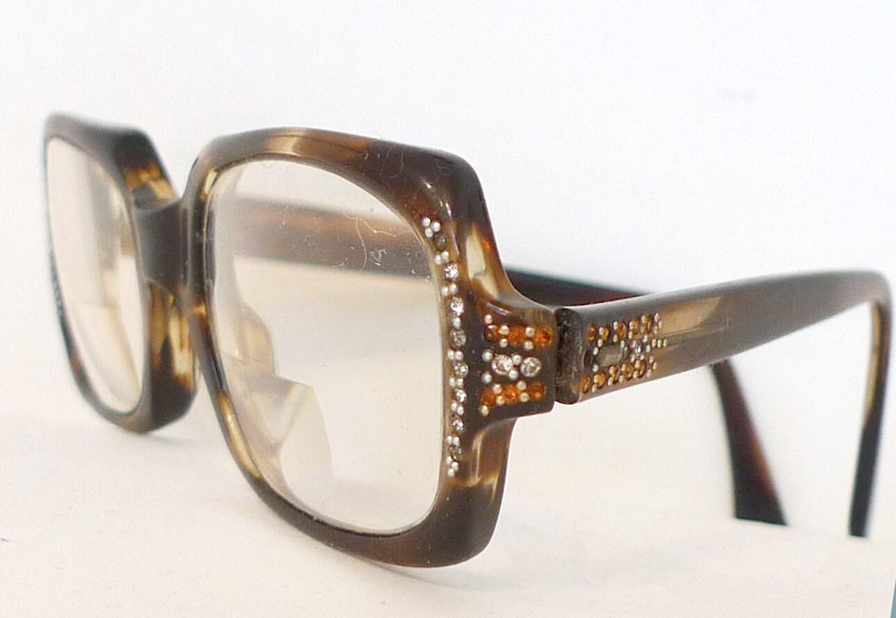 Items similar to Mod Rhinestone Studded Shuron Eyeglass ...