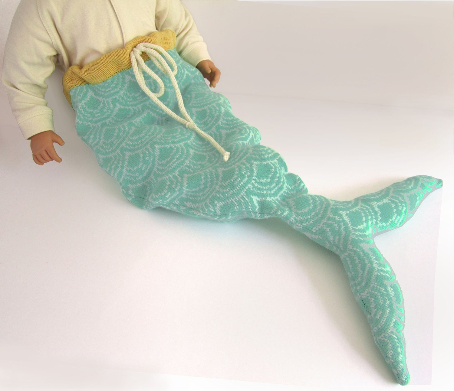 Knitting Pattern For Baby Mermaid Outfit : Mermaid Tail Baby Costume Pale Print by TheMiniatureKnitShop