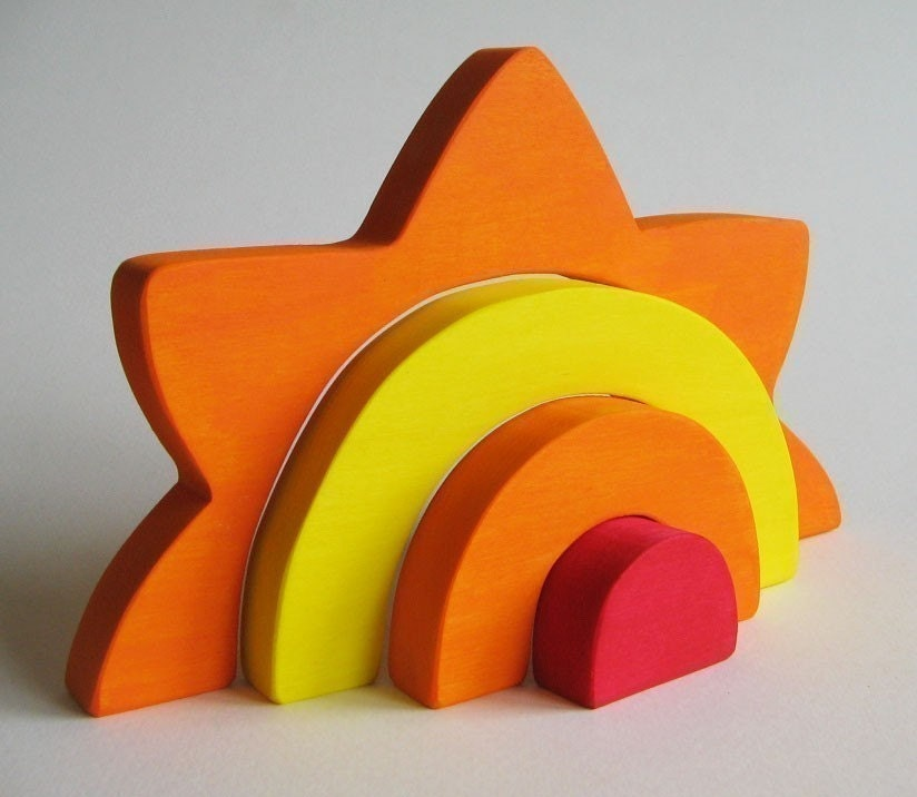 Large Sun Stacker - Waldorf Wooden Toy- Earth Day