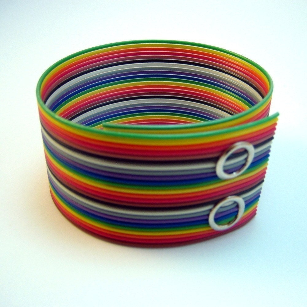 rainbow ribbon cable cuff