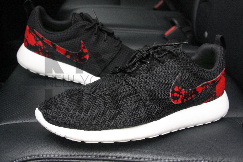 a269ac21543e Blood Splatter Nike Roshe Run Black Custom Men   by NYCustoms 50%OFF ...