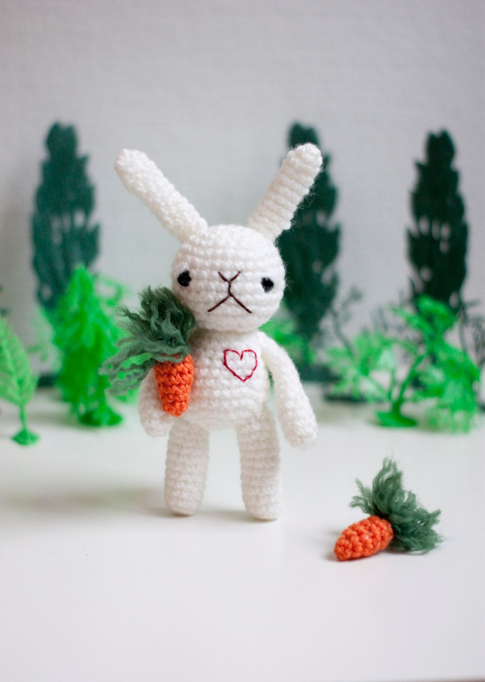 Amigurumi, soft toy, soft sculpture bunny - Bianca the white carrot farmer bunny