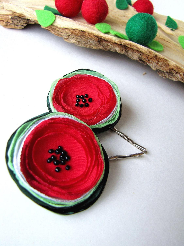 Ручной заколками с тканью цветы (2 шт) - крошечные FRESH АРБУЗОВ