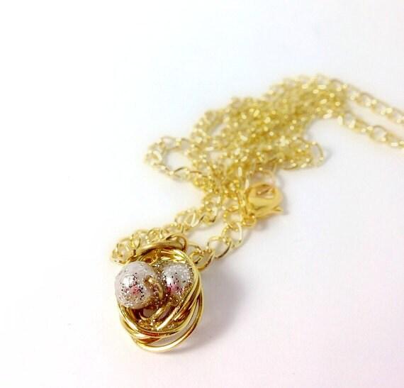 Gold birds nest pendant necklace - StitchedTeagan