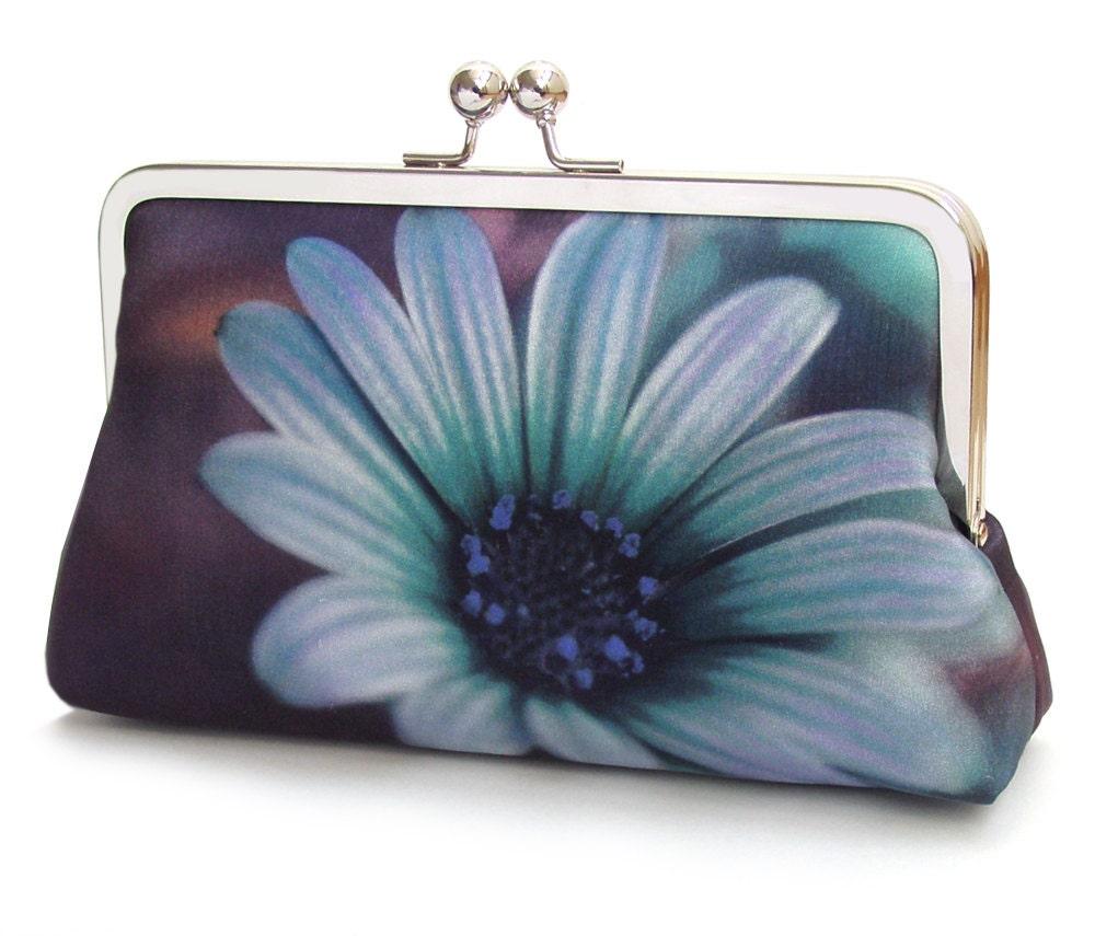 Blue daisy clutch bag flower purse printed silk handbag