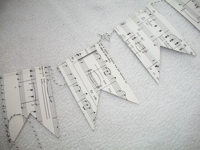 Vintage Sheet Music Garland
