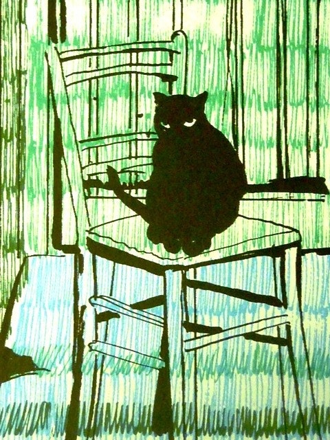 MEOW -- Vintage Original Signed 1970s Silkscreen for CAT LOVERS - Signed and Numbered by Artist