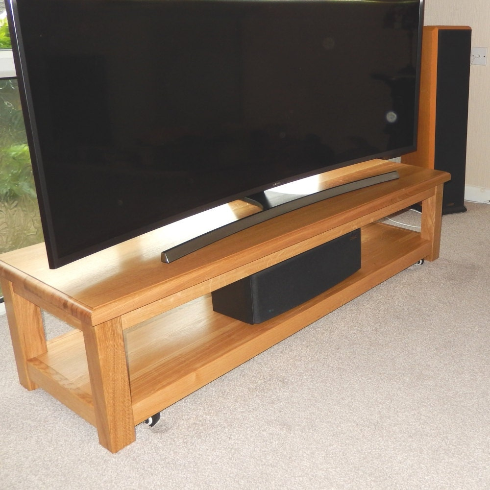 TV Stand Media Console Low Media Storage Unit for Large TV Handmade Oak Widescreen TV Stand Media Storage Entertainment Centre