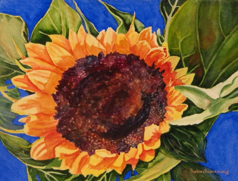 Sunflower Art: Limited Ed Watercolor Fine Art Reproduction