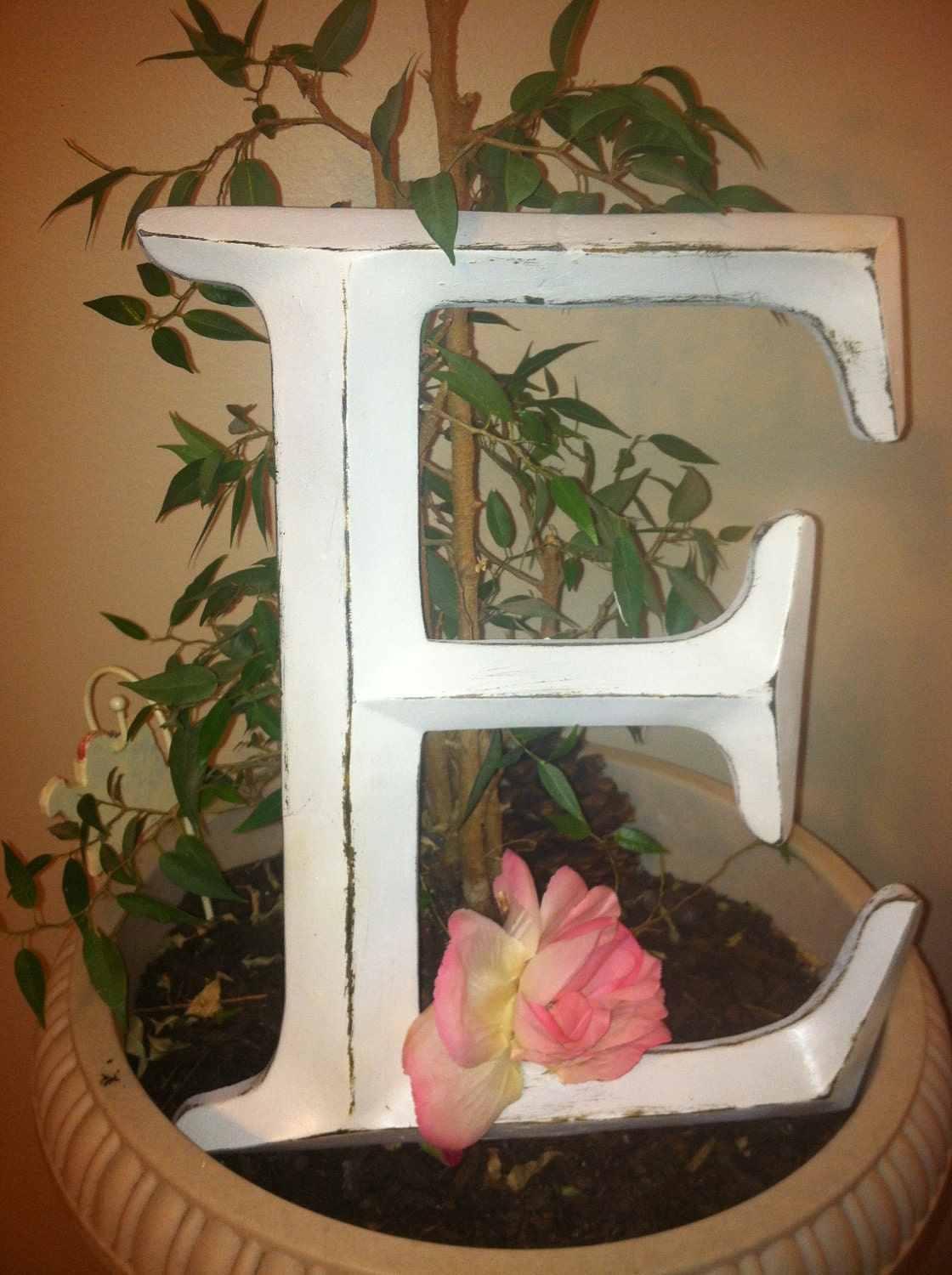 Wall decor large letter shabby chic wall decor by for Shabby chic wall art