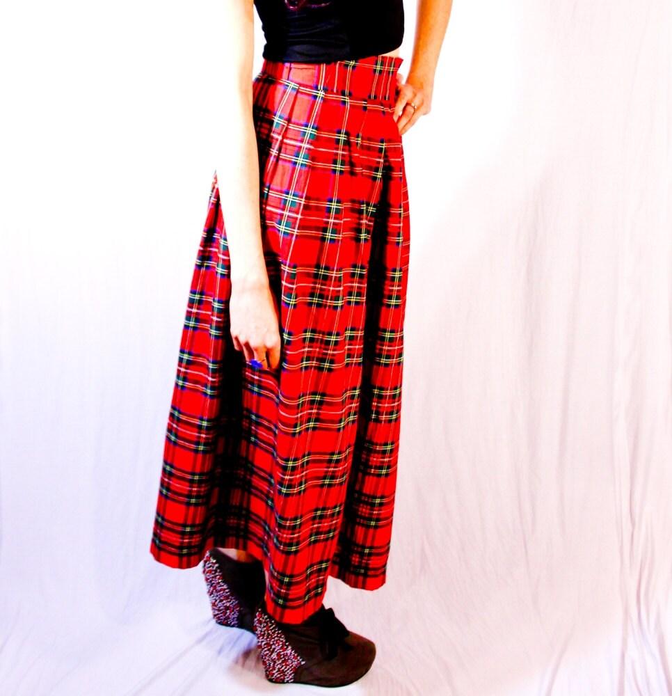 tartan plaid maxi skirt w added slit reved by