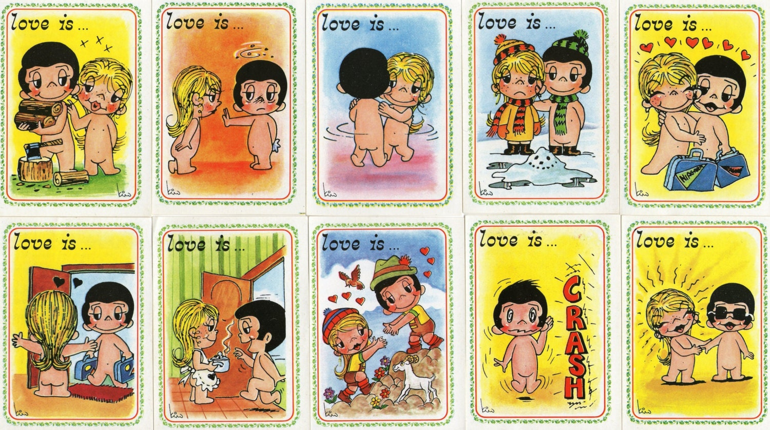 Valentines Card 'Love Is....' Vintage Panini Sticker in various designs