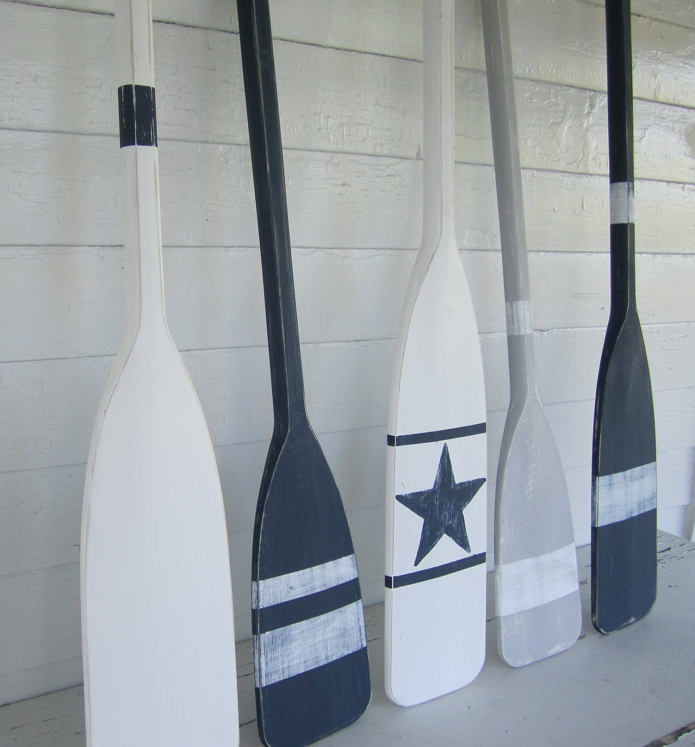 36 Navy Blue Distressed Paddle Oar With White By