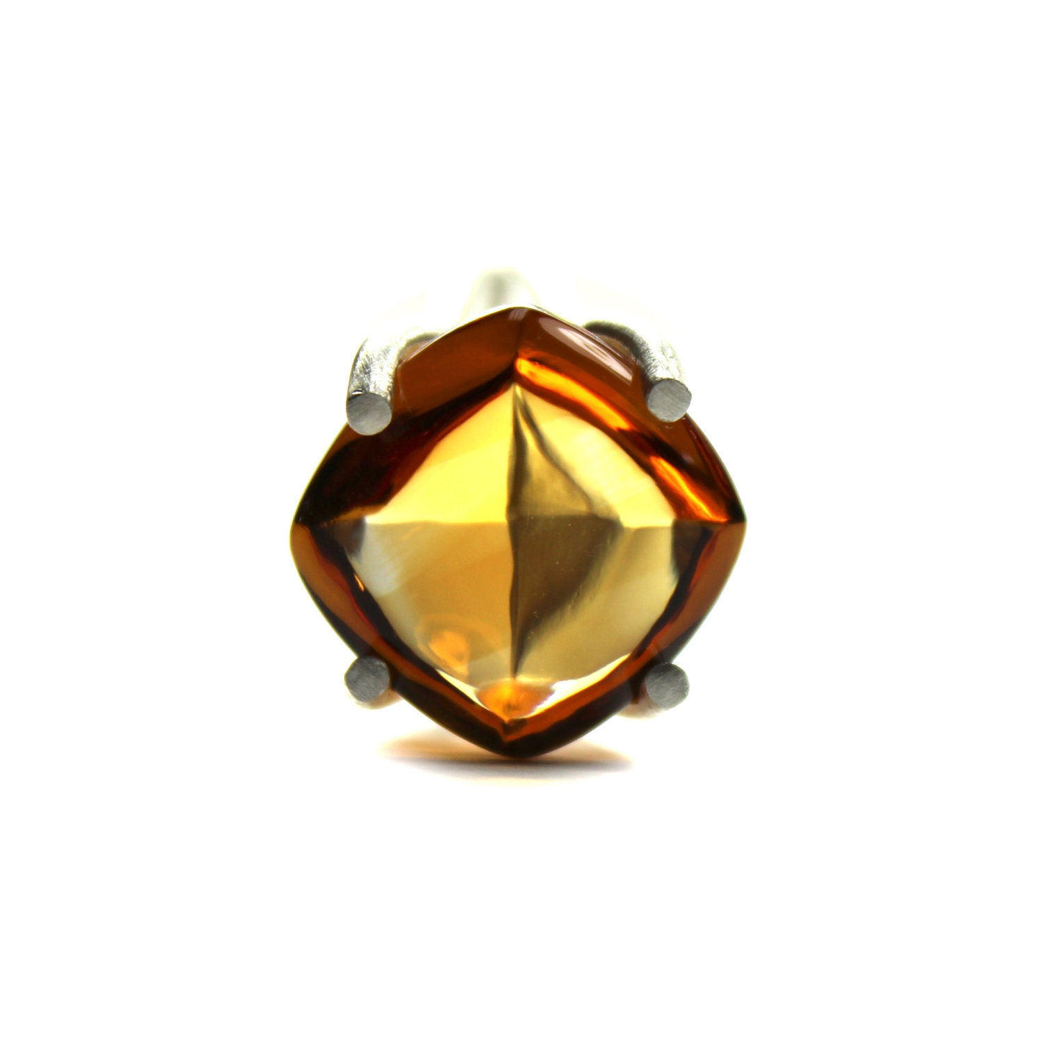Large Citrine Shield Silver Ring Orange Sunset Sun - Tangerine Shield - NangijalaJewelry