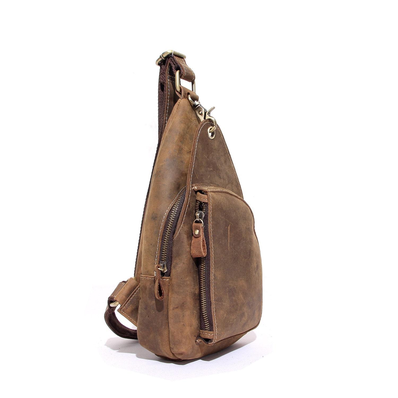 Handmade Tan Top Grain Real Luxury Leather Cossbody Bag Travel Bag  Unisex University School Bag ManWomen