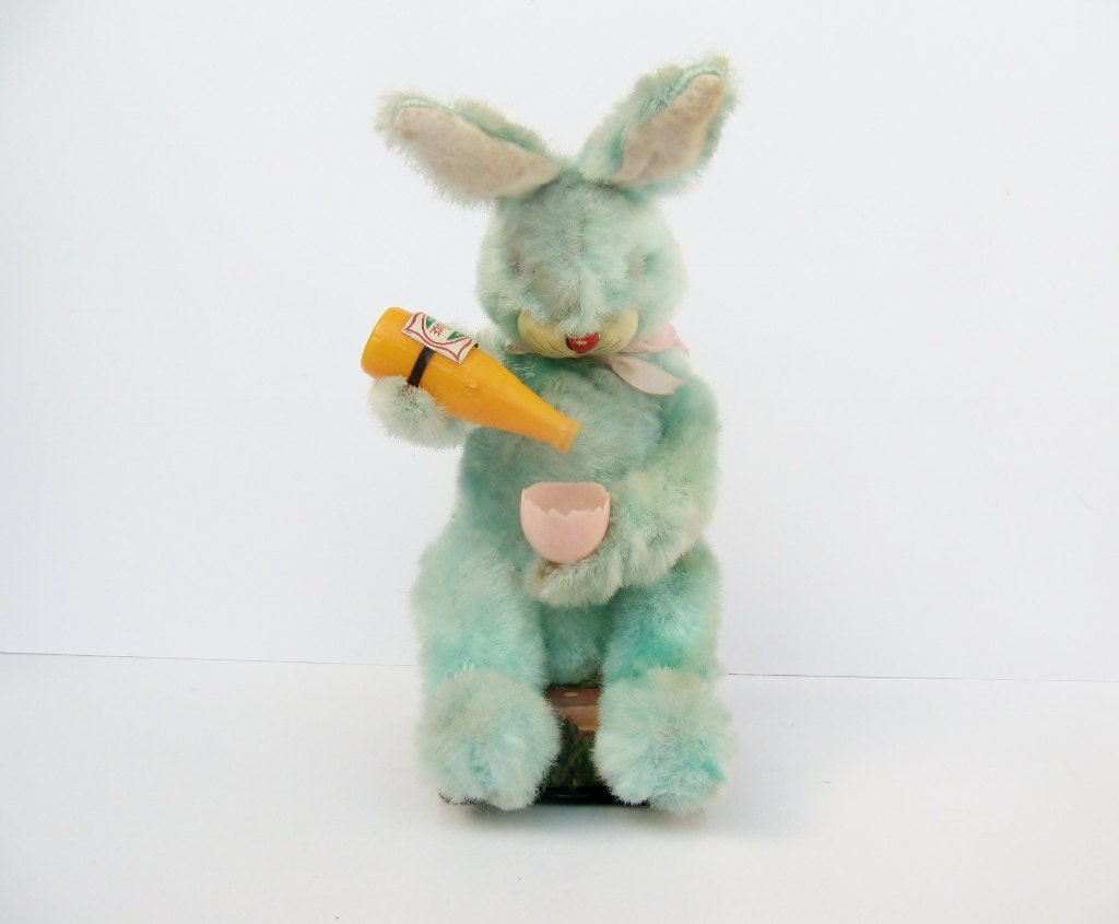 Vintage Pastel Blue Picnic Bunny Toy - Modred12