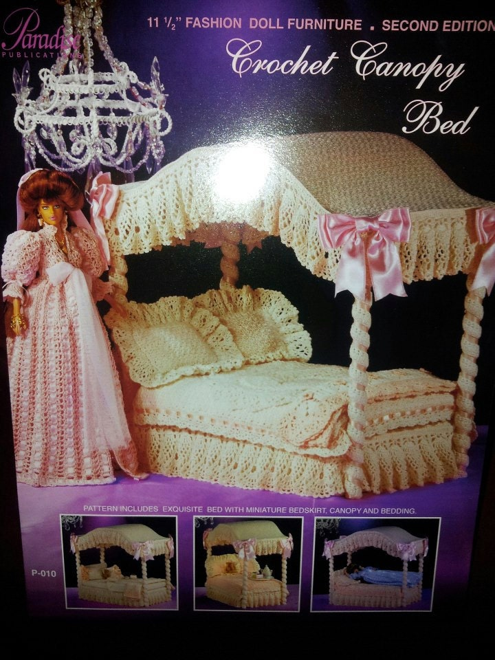 Paradise Crochet Canopy Bed Fashion Doll Rare Htf By