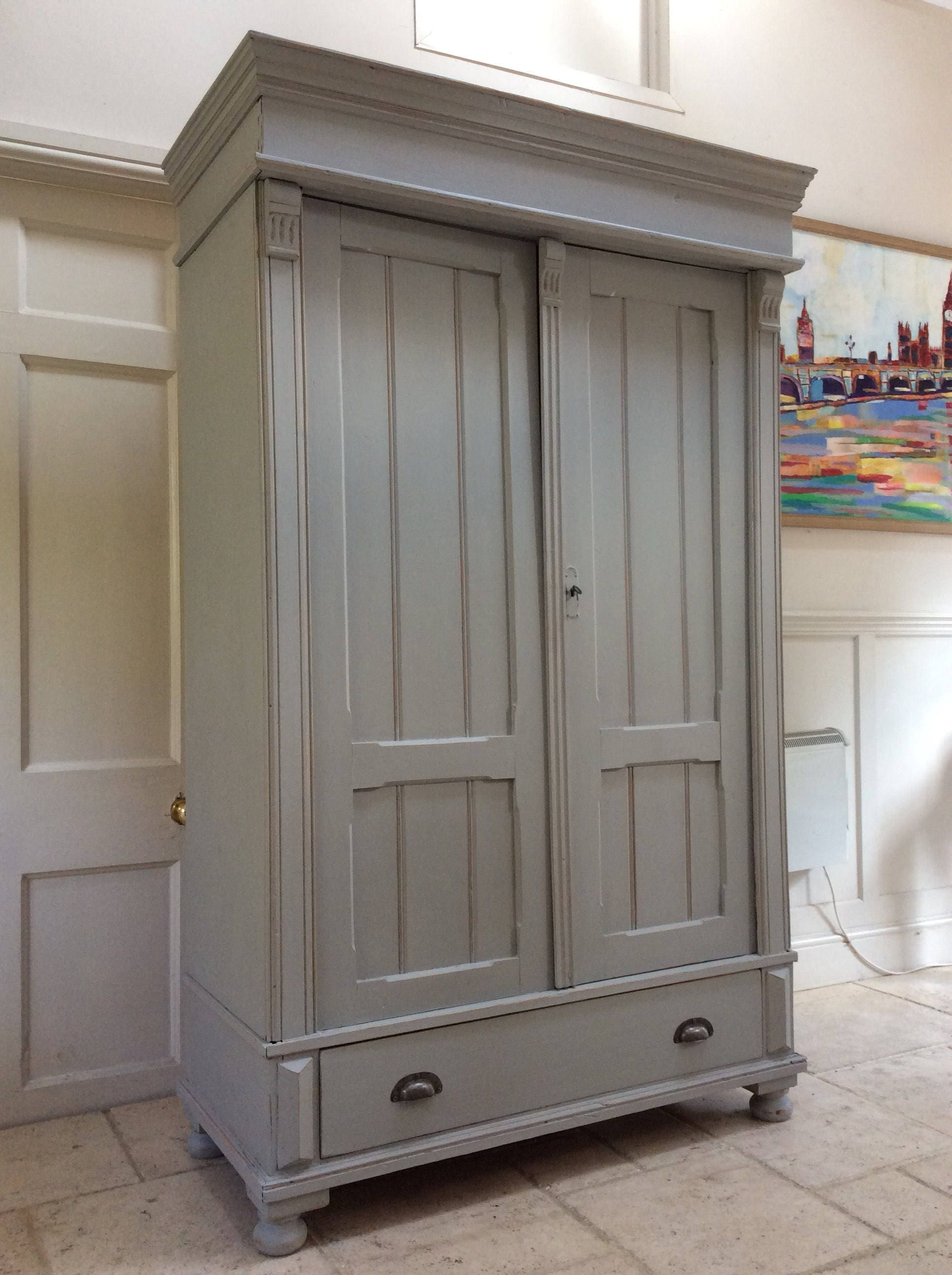 Antique Victorian Solid Pine French Gustavian Style Grey Painted Wardrobe Armoire Hall Cupboard