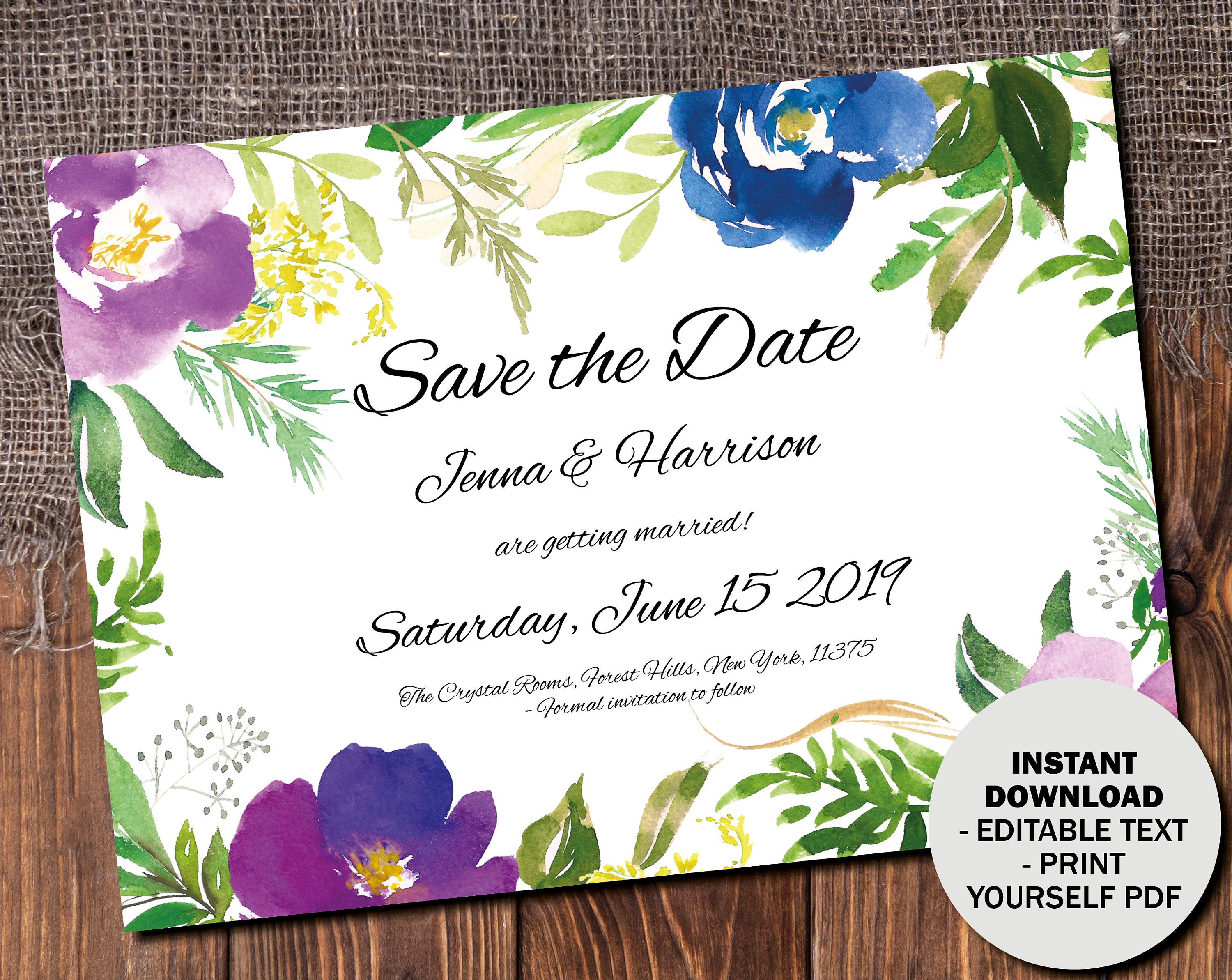Wedding Save the Date Template Printable Wedding Save the Date Editable Save the Date PDF DIY Save the Date Watercolor Border 5 SAVE5
