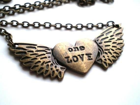Antique Brass Stamped Charm Necklace, One Love
