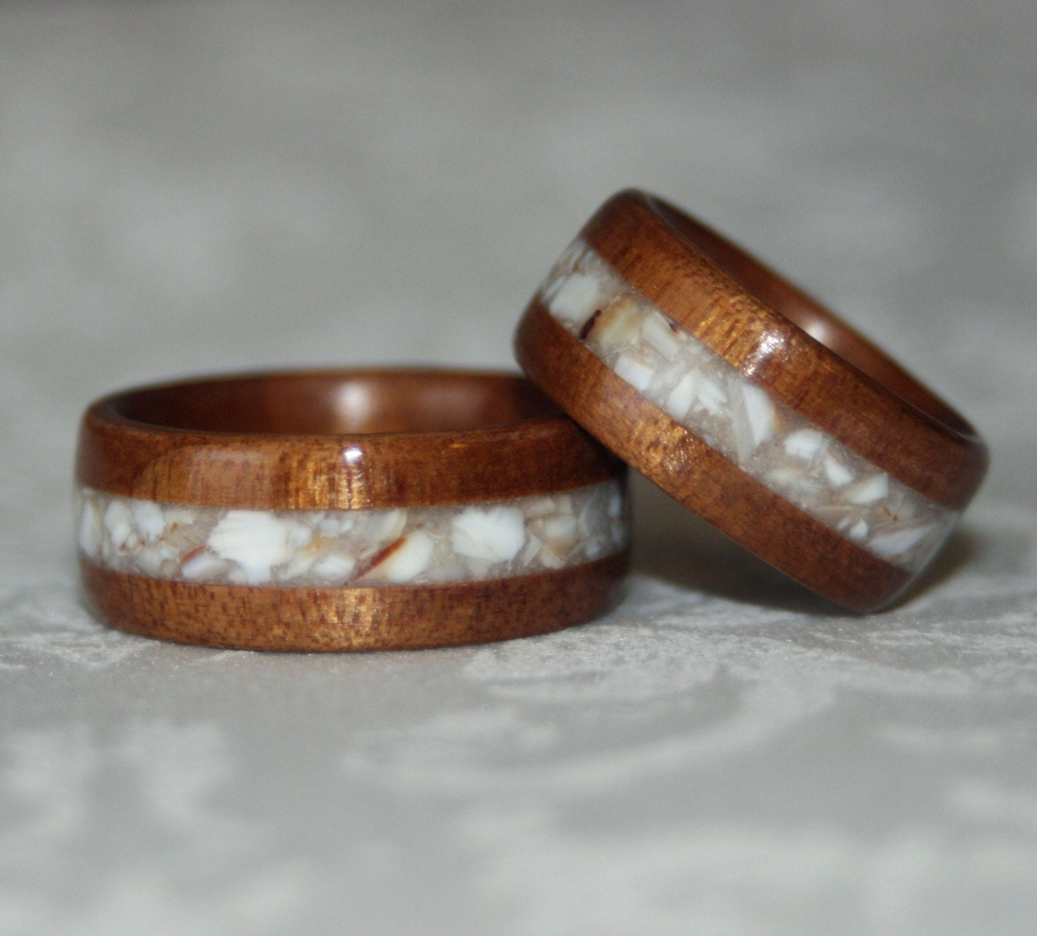 Crushed Gemstone For Inlays : Set of custom wood rings with crushed stone inlay by