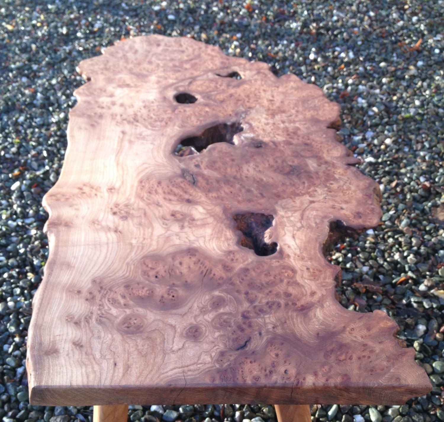 Elm Burr hand crafted coffee table with planter or tea light option.