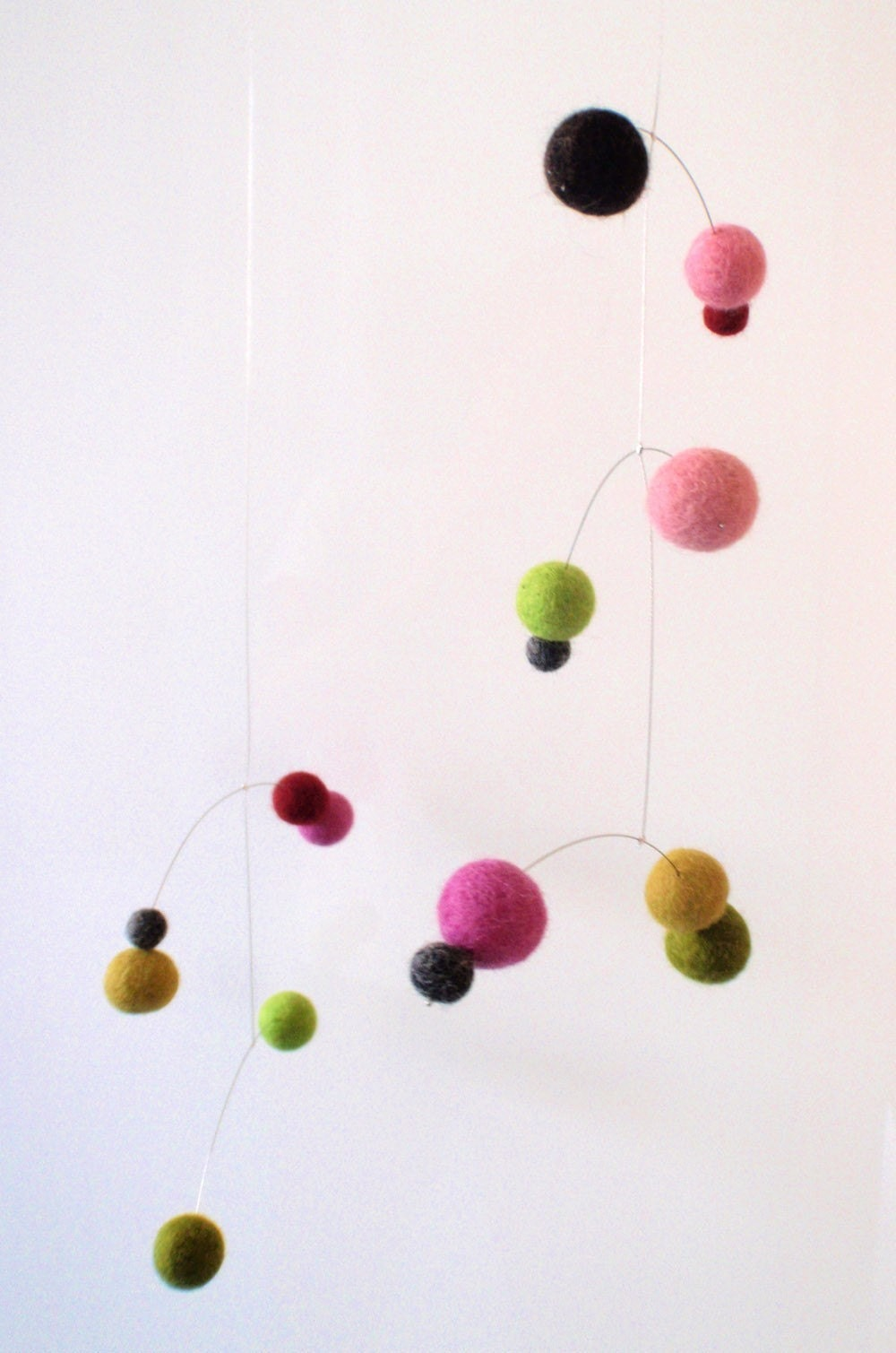 Polka Dot Modern Felt Ball Baby Mobile -Spring colours- pink and green - pukapuka