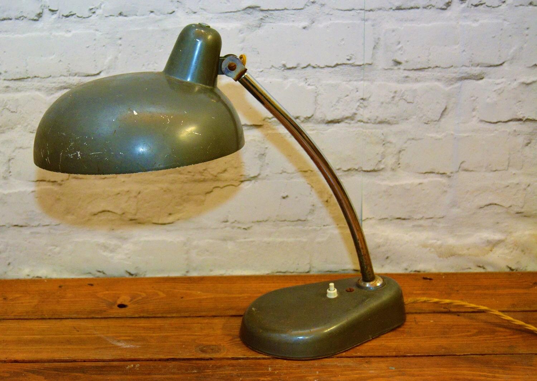 Vintage retro industrial mid century modern bauhaus kaiser idell lamp light antique moderism desk atomic