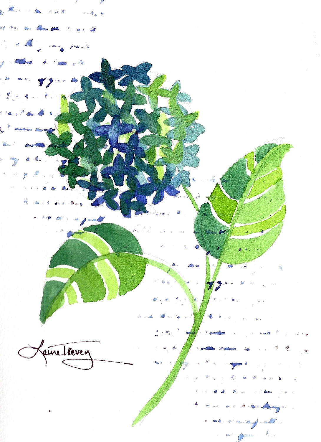 Green Hydrangea - Watercolor Painting
