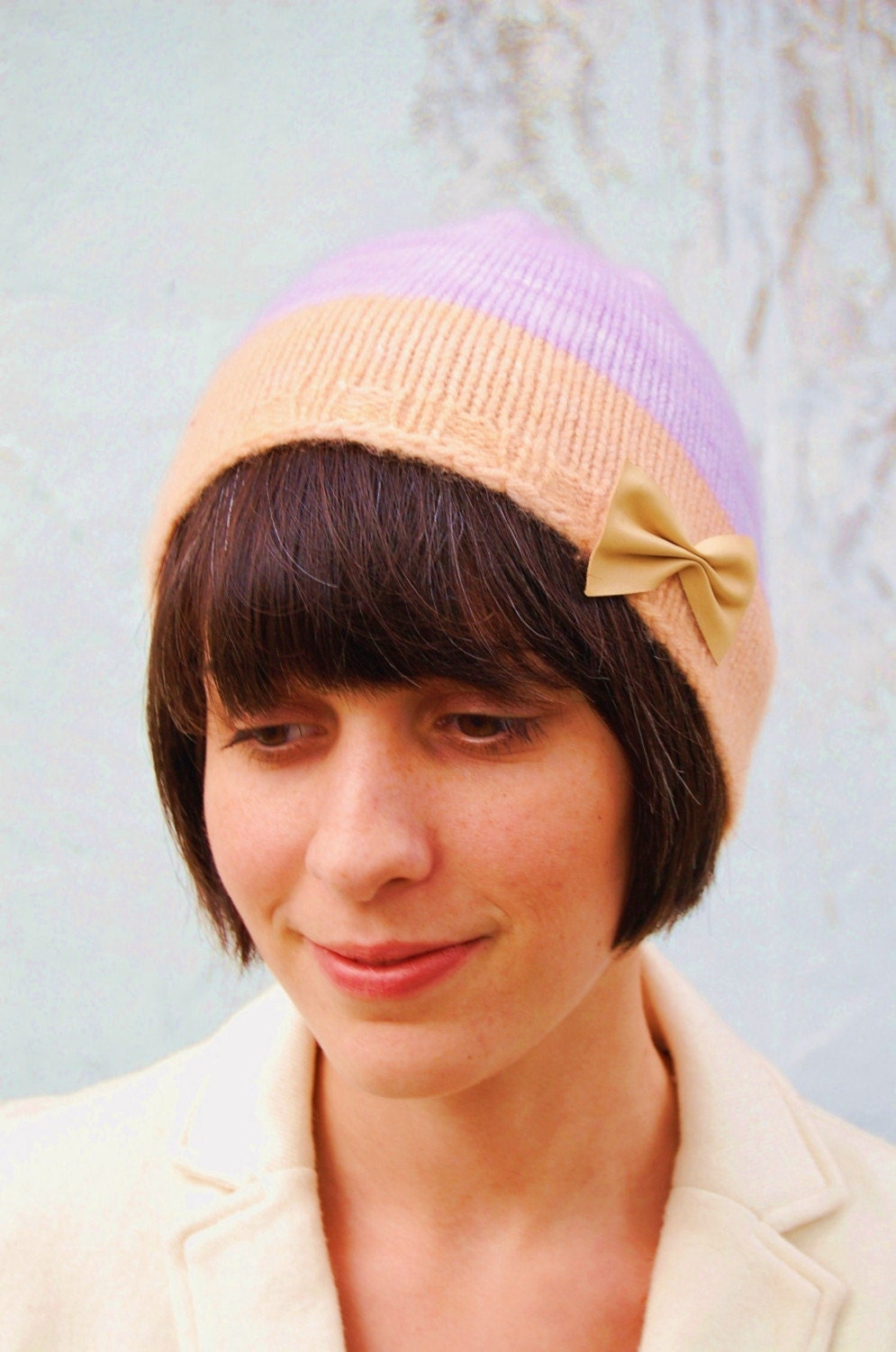 Cashmere Josephine Hat in Lavender and Ballerina