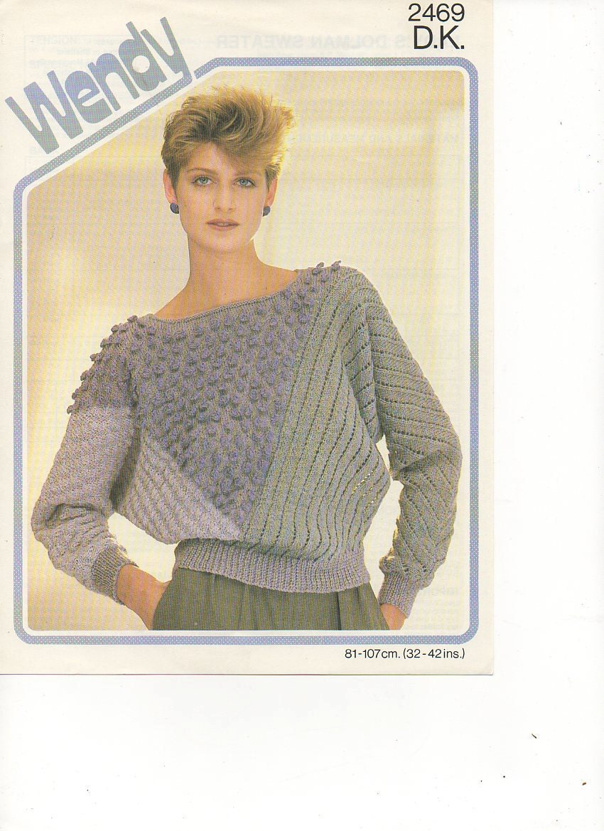 Knitting Pattern Batwing Jumper : 1980s Ladies Batwing Textured Jumper Knitting Pattern by tinpotlil
