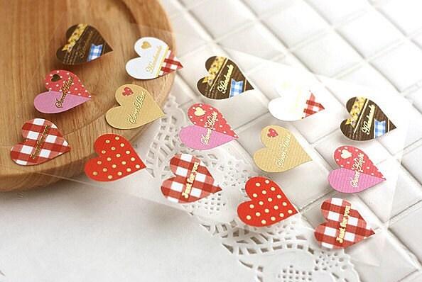 Sweet Heart Kraft Paper Sticker - 30pcs