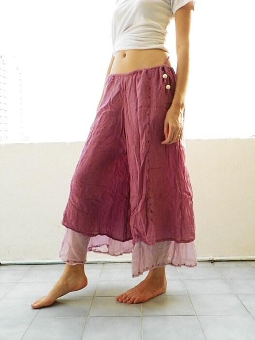 بنفش قرمز رنگ پریده خالص پنبه بوهمیایی مد هنرمند شلوار زنان طراحی رایگان حجم