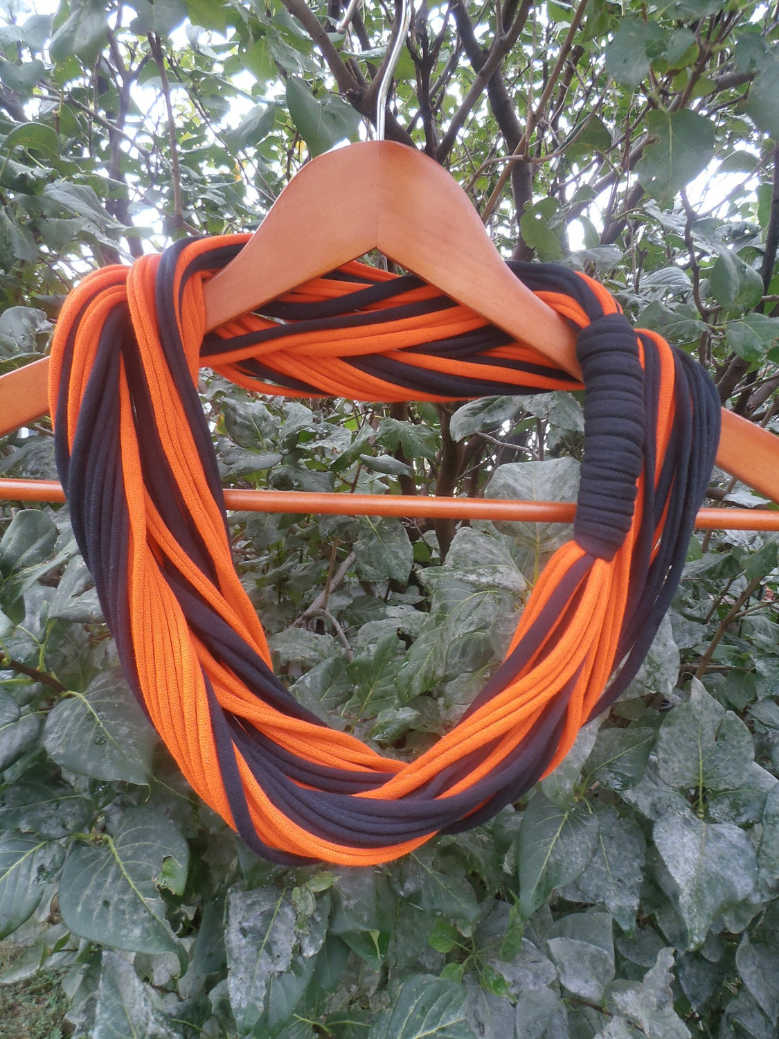 infinity scarf orange and black color by sister9designs on