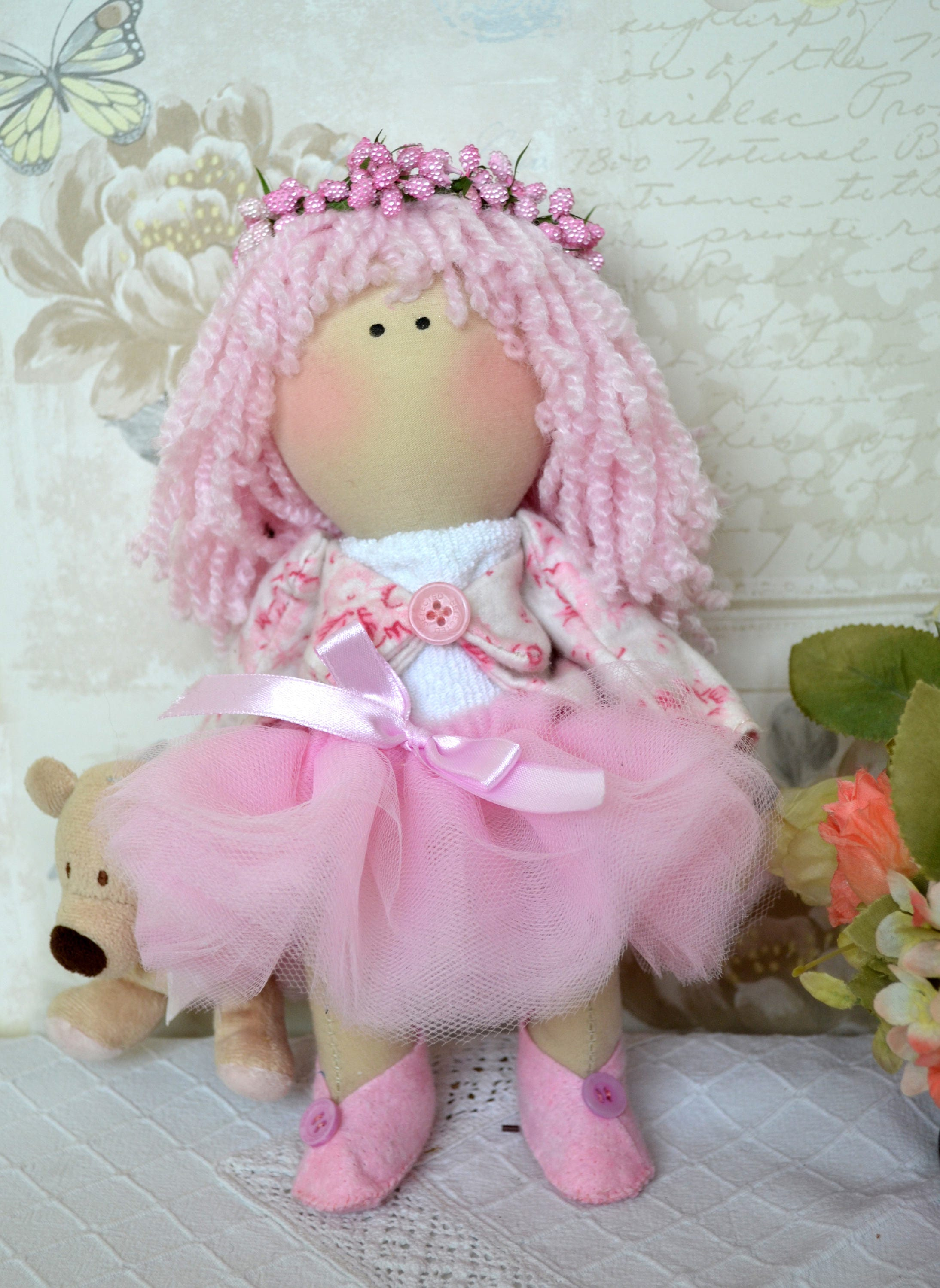 Ella Handmade collectable Lindy doll toy Russian dolls hand stitched personalise cloth craft