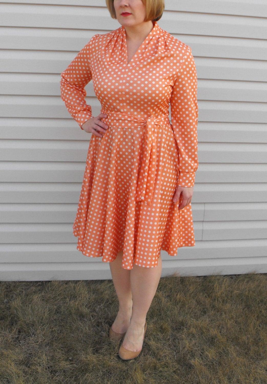 Vintage 70s Peach White Retro Rockabilly Polka Dot Dress M L